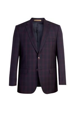 Erkek Giyim - Bordo 50 Beden İtalyan Ekose Ceket