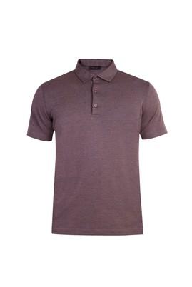 Erkek Giyim - Kahve S Beden Yarım İtalyan Yaka Slim Fit Tişört