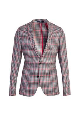 Erkek Giyim - Kırmızı 46 Beden Ekose Ceket