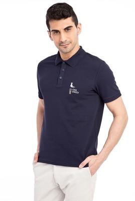 Erkek Giyim - Lacivert S Beden Regular Fit Nakışlı Polo Yaka Tişört
