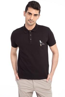 Erkek Giyim - Siyah XXL Beden Regular Fit Nakışlı Polo Yaka Tişört