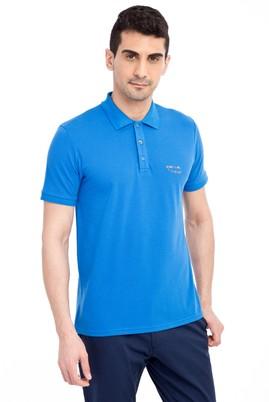 Erkek Giyim - Mavi L Beden Regular Fit Nakışlı Polo Yaka Tişört