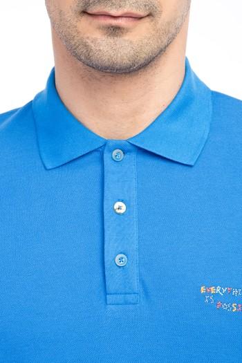 Erkek Giyim - Polo Yaka Regular Fit Nakışlı Tişört