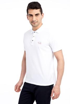 Erkek Giyim - Beyaz XXL Beden Regular Fit Nakışlı Polo Yaka Tişört