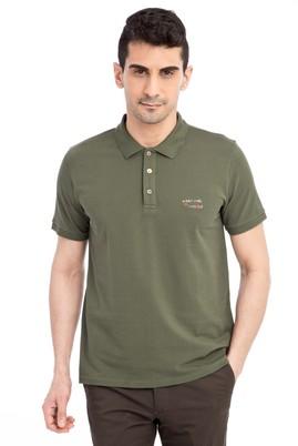 Erkek Giyim - HAKİ S Beden Regular Fit Nakışlı Polo Yaka Tişört