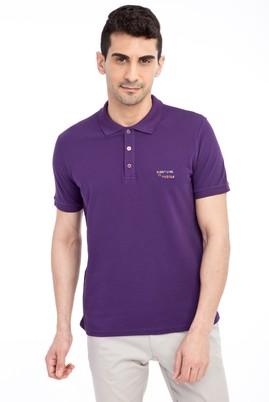 Erkek Giyim - Mor S Beden Regular Fit Nakışlı Polo Yaka Tişört