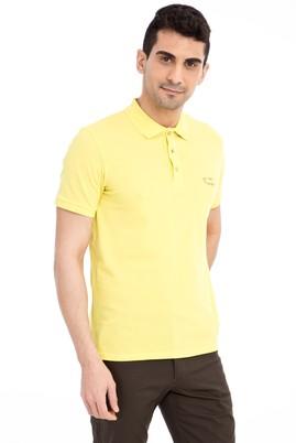Erkek Giyim - Sarı 3X Beden Regular Fit Nakışlı Polo Yaka Tişört