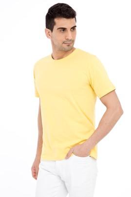 Erkek Giyim - Sarı 3X Beden Bisiklet Yaka Nakışlı Regular Fit Tişört