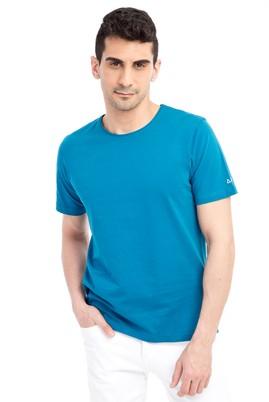 Erkek Giyim - Petrol XL Beden Bisiklet Yaka Nakışlı Regular Fit Tişört