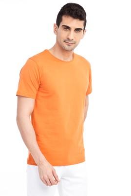 Erkek Giyim - Turuncu L Beden Bisiklet Yaka Nakışlı Regular Fit Tişört