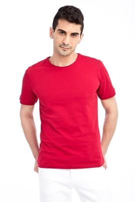 Erkek Giyim - Kırmızı L Beden Bisiklet Yaka Nakışlı Regular Fit Tişört