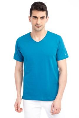 Erkek Giyim - Petrol 3X Beden V Yaka Nakışlı Regular Fit Tişört