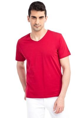 Erkek Giyim - Kırmızı 3X Beden V Yaka Nakışlı Regular Fit Tişört