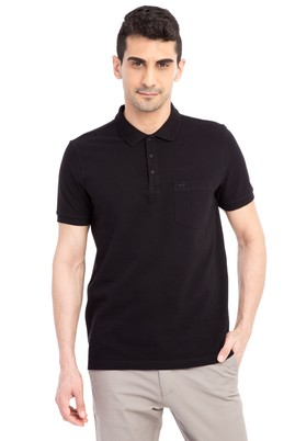 Erkek Giyim - Siyah 3X Beden Regular Fit Polo Yaka Tişört