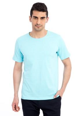Erkek Giyim - Mavi XXL Beden Bisiklet Yaka Nakışlı Regular Fit Tişört