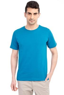 Erkek Giyim - Petrol XXL Beden Bisiklet Yaka Nakışlı Regular Fit Tişört