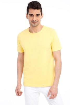 Erkek Giyim - Sarı XL Beden Bisiklet Yaka Nakışlı Regular Fit Tişört