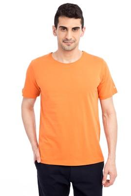 Erkek Giyim - Turuncu M Beden Bisiklet Yaka Nakışlı Regular Fit Tişört