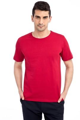 Erkek Giyim - Kırmızı XL Beden Bisiklet Yaka Nakışlı Regular Fit Tişört