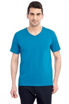 Erkek Giyim - Petrol L Beden V Yaka Nakışlı Regular Fit Tişört