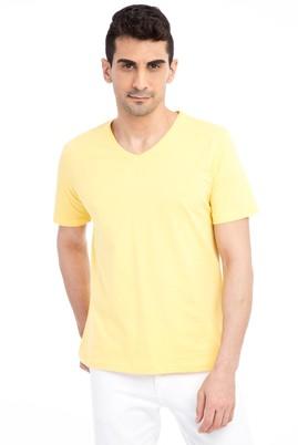 Erkek Giyim - Sarı XL Beden V Yaka Nakışlı Regular Fit Tişört