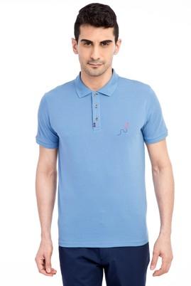 Erkek Giyim - Mavi S Beden Regular Fit Nakışlı Polo Yaka Tişört