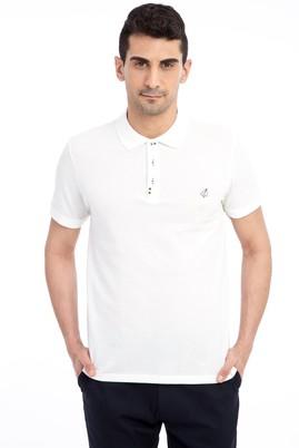 Erkek Giyim - Beyaz L Beden Regular Fit Nakışlı Polo Yaka Tişört