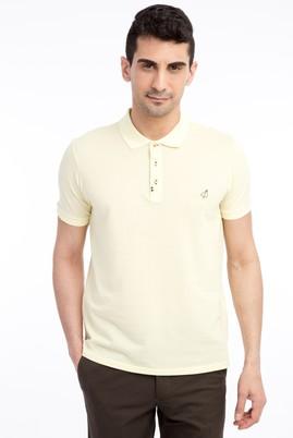 Erkek Giyim - Sarı XXL Beden Regular Fit Nakışlı Polo Yaka Tişört