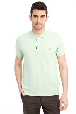 Erkek Giyim - Acık Yesıl M Beden Regular Fit Nakışlı Polo Yaka Tişört