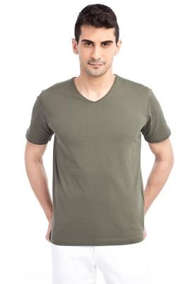 Erkek Giyim - HAKİ L Beden V Yaka Nakışlı Regular Fit Tişört