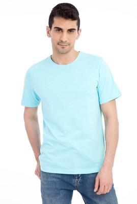 Erkek Giyim - Mavi 3X Beden Bisiklet Yaka Nakışlı Regular Fit Tişört