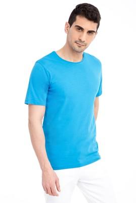 Erkek Giyim - Turkuaz 3X Beden Bisiklet Yaka Nakışlı Regular Fit Tişört