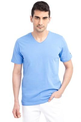 Erkek Giyim - Mavi L Beden V Yaka Nakışlı Regular Fit Tişört