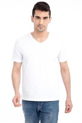 Erkek Giyim - Beyaz XL Beden V Yaka Nakışlı Regular Fit Tişört