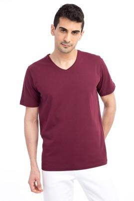 Erkek Giyim - Bordo L Beden V Yaka Nakışlı Regular Fit Tişört