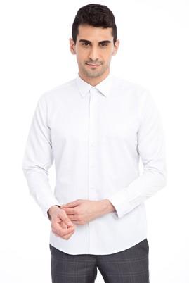 Erkek Giyim - Lacivert L Beden Uzun Kol Slim Fit Desenli Gömlek