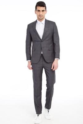 Erkek Giyim - Orta füme 50 Beden Slim Fit Kareli Takım Elbise
