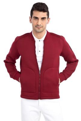 Erkek Giyim - Bordo XXL Beden Fermuarlı Scuba Sweatshirt