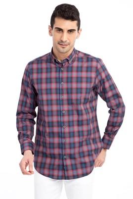 Erkek Giyim - Bordo L Beden Uzun Kol Ekose Gömlek