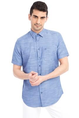 Erkek Giyim - Mavi 3X Beden Kısa Kol Desenli Gömlek