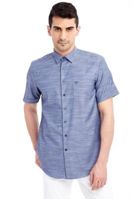 Erkek Giyim - Lacivert M Beden Kısa Kol Desenli Gömlek
