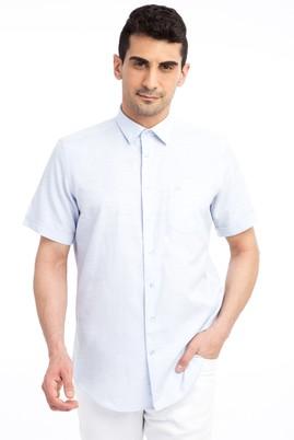 Erkek Giyim - Açık Mavi XL Beden Kısa Kol Desenli Gömlek
