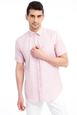 Erkek Giyim - Kırmızı L Beden Kısa Kol Desenli Gömlek
