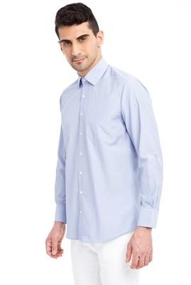 Erkek Giyim - Mavi 3X Beden Uzun Kol Çizgili Klasik Gömlek