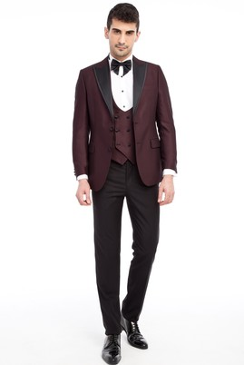 Erkek Giyim - Bordo 50 Beden Sivri Yaka Desenli Smokin / Damatlık