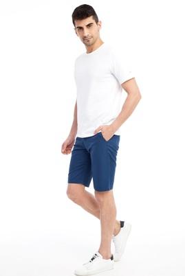 Erkek Giyim - Lacivert 50 Beden Slim Fit Spor Bermuda Şort