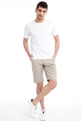 Erkek Giyim - Bej 46 Beden Slim Fit Spor Bermuda Şort