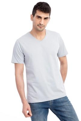 Erkek Giyim - Açık Gri 3X Beden V Yaka Nakışlı Regular Fit Tişört