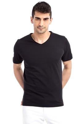 Erkek Giyim - Siyah XL Beden V Yaka Nakışlı Regular Fit Tişört