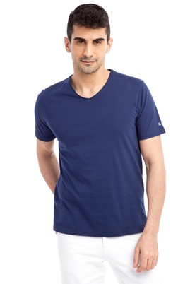Erkek Giyim - Lacivert 3X Beden V Yaka Nakışlı Regular Fit Tişört